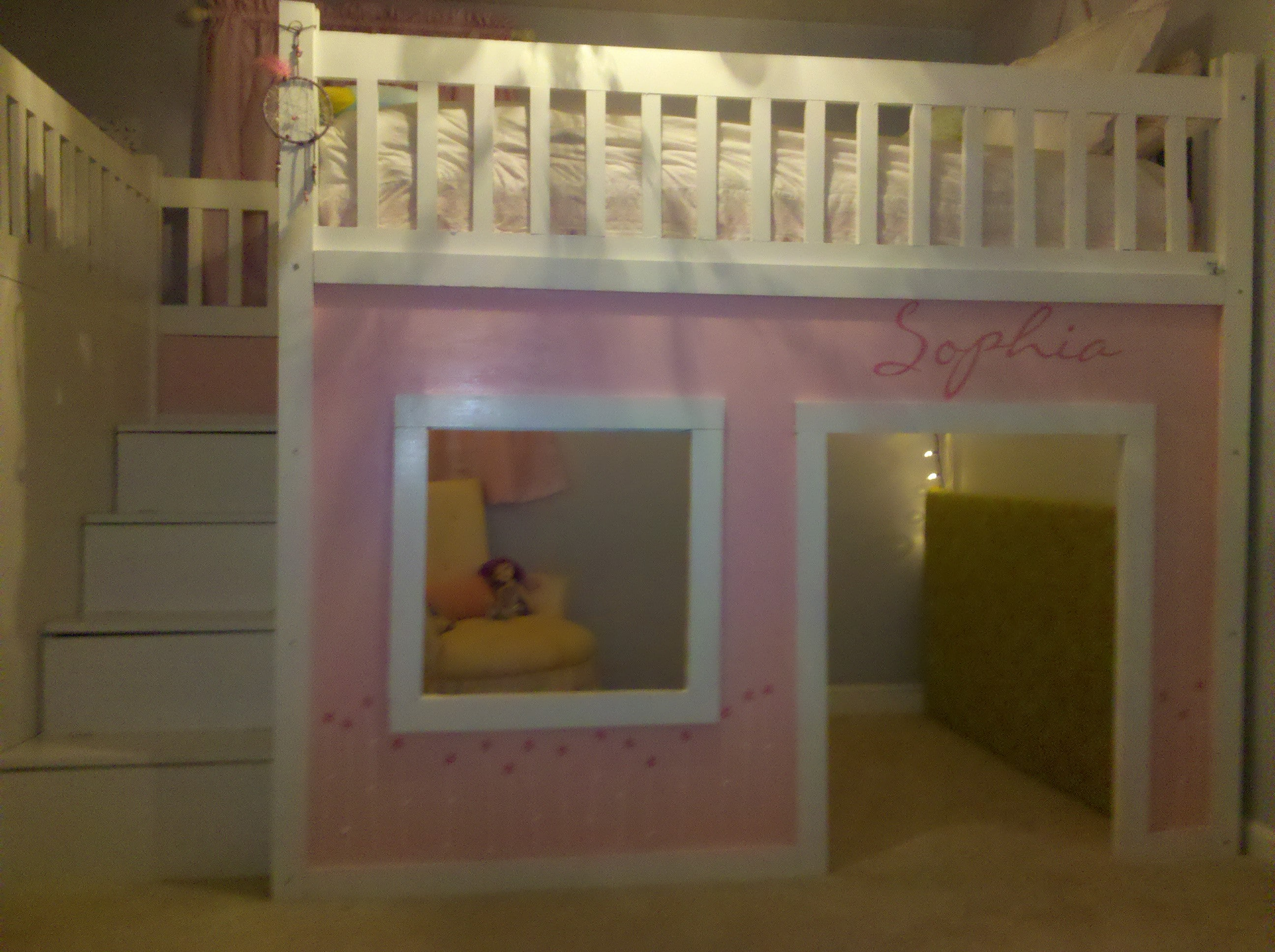 Girls Full Size Loft Beds with Stairs 2592 x 1936