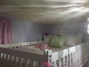 a white loft bed