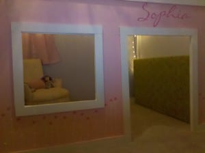 a pink painted loft bed