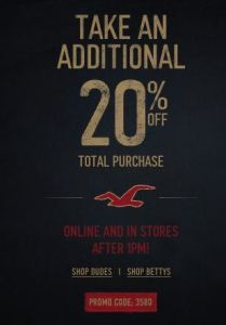 Hollister Black Friday 20 Off Your Entire Purchase Printable