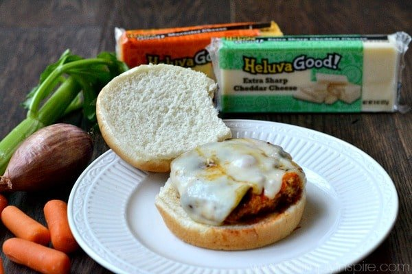 Bursting with flavor, these Buffalo Turkey Burgers are loaded with sautéed veggies and seasonings then coated in buffalo sauce and topped with gooey cheese