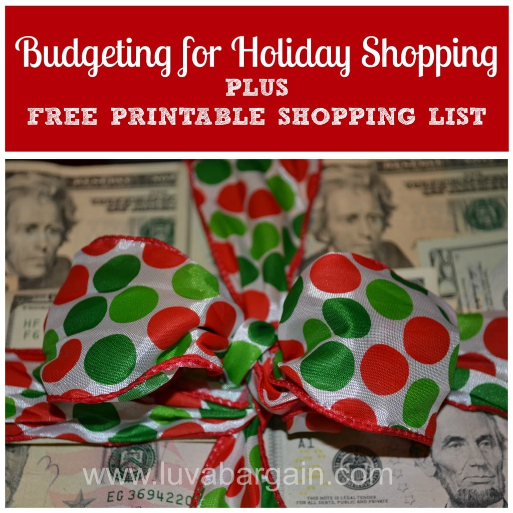 budgeting for holiday shopping