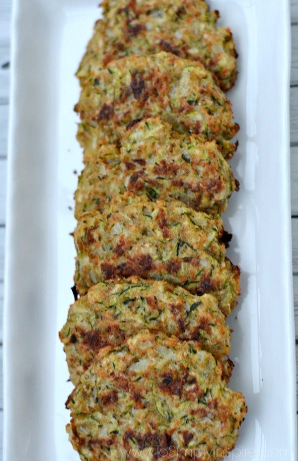 Baked Zucchini Cakes on a white plate