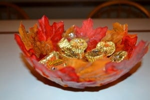 fall leaf bowl with candy inside