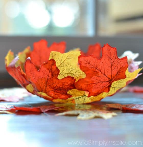 closeup of DIY Fall Leaf Bowl