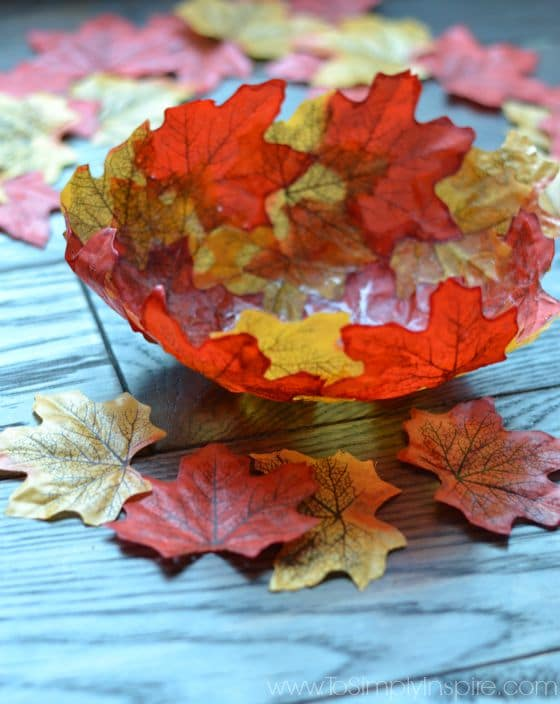Fall Leaf Bowl with leaves scattered around