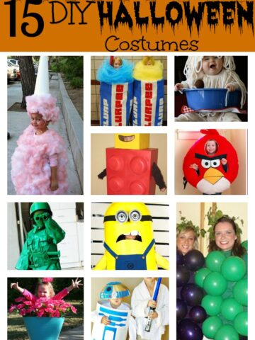 A bunch of different kids halloween Costumes