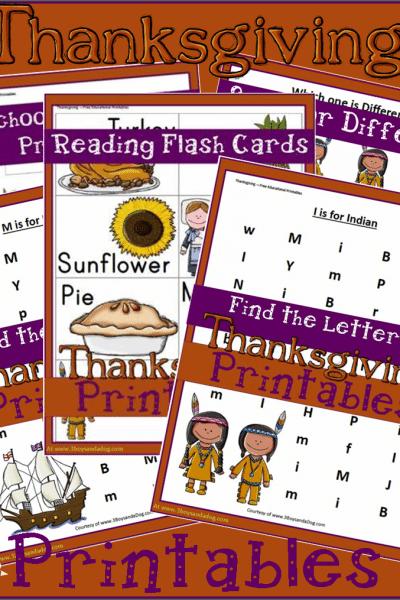 Educational Thanksgiving Printables