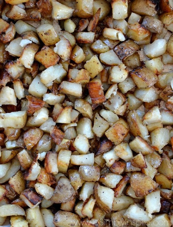 roasted potatoes recipe in a baking dish