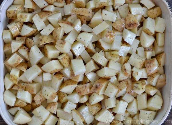Potatoes cut in chunks ready to roast - To Simply Inspire