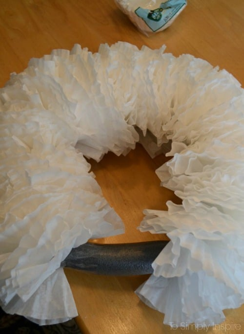 coffee filter almost-finished-wreath