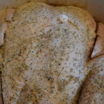 raw whole chicken in a slow cooker