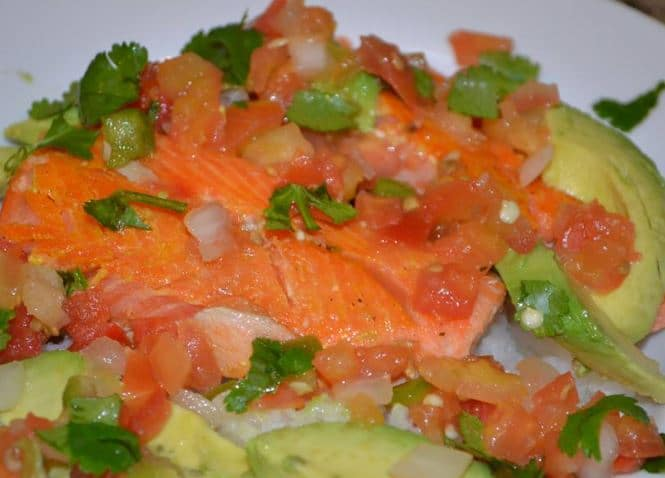 Steelhead Trout over rice with Avocado, Salsa and Cilantro
