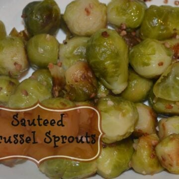 sautéed Brussel sprouts on a white plate