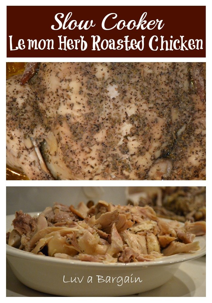 slow cooker lemon herb roasted chicken