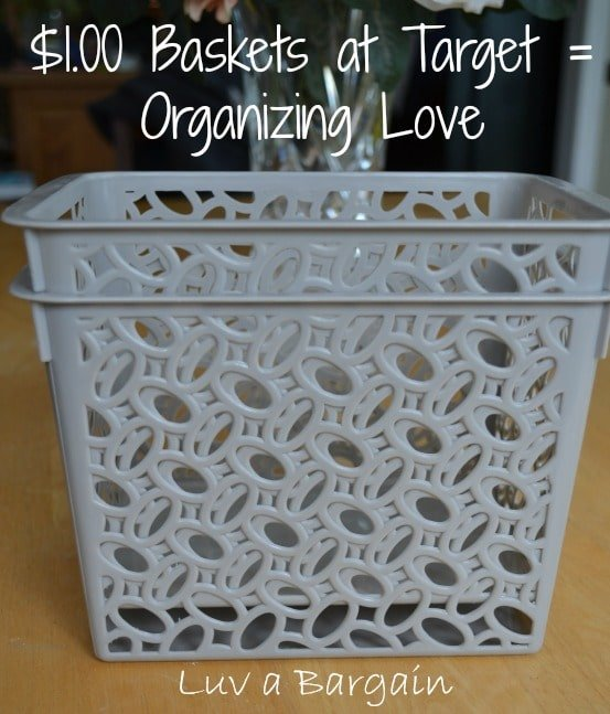 two gray plastic baskets