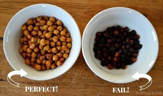 two bowls of Roasted Chickpeas. One cooked, one burnt.