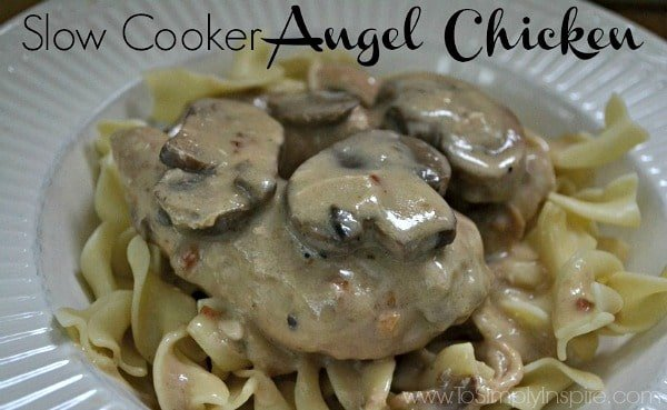 closeup of Slow Cooker Angel Chicken recipe