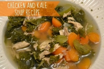 A bowl of Chicken and Kale soup with carrots and celery
