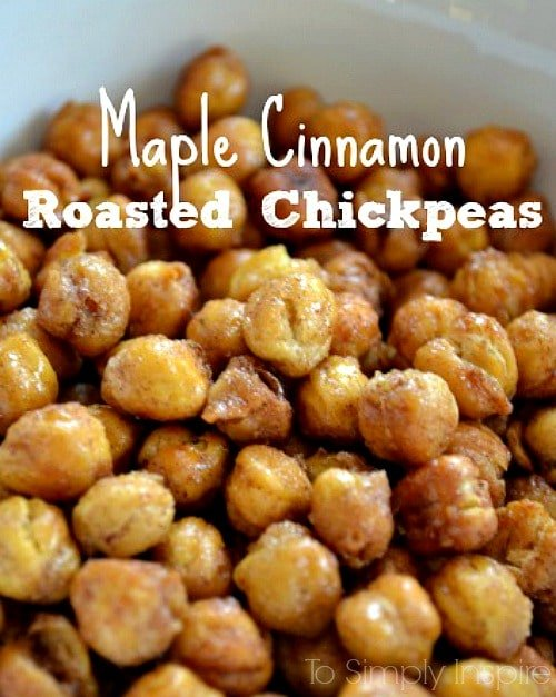 Maple Cinnamon Roasted Chickpeas recipe in a white bowl