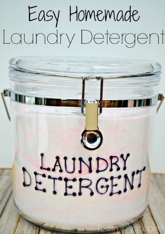 a plastic bin with pink and white homemade laundry detergent
