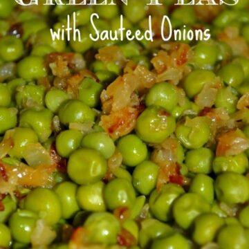 close of green peas and sautéed onions