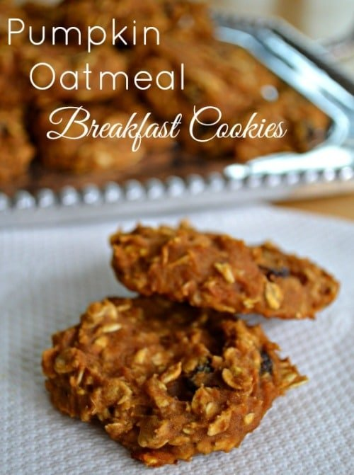 Pumpkin Oatmeal Breakfast Cookies on a white napkin