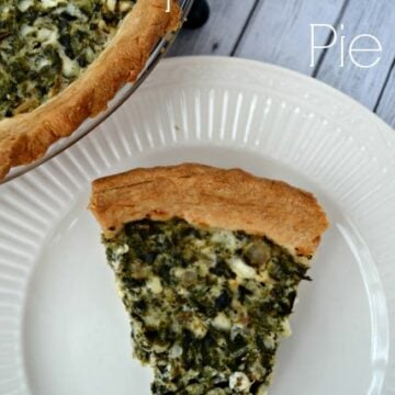 slice of spinach pie on a white plate