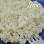 cauliflower rice on a royal blue plate