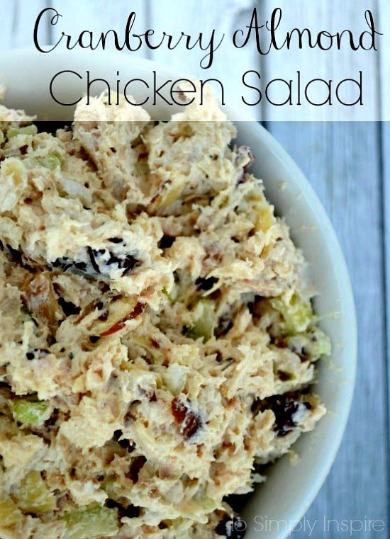 This Cranberry Almond Chicken Salad Recipe is an amazing twist on a old favorite. Made with rotisserie chicken, it's perfect for lunch, get-togethers with friends and even bridal/baby showers.