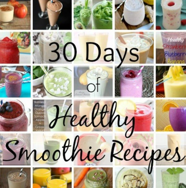 Try each of these 30 healthy smoothie recipes for a great breakfast, mid morning or mid afternoon snack.