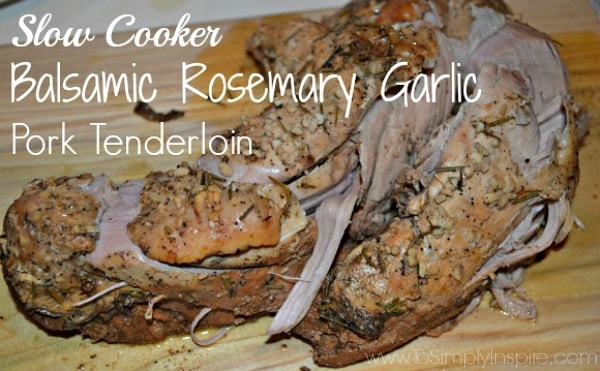 This Slow Cooker Balsamic Garlic Pork Tenderloin is a perfect delicious meal to have ready and waiting for you to come home to at the end of a long day.
