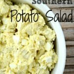 southern style potato salad in a white bowl with txt overlay