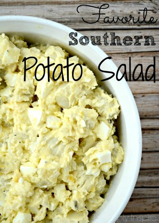 Potato Salad recipe with hard boiled eggs in a white bowl with text overlay: Favorite Southern Potato Salad
