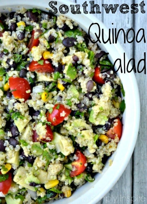 Southwest Quinoa Salad recipe in a white bowl