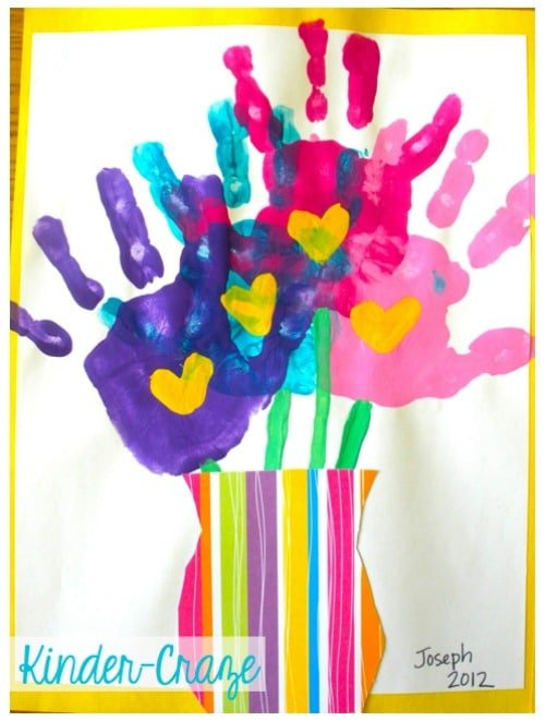 Handprint bouquet for mothers day