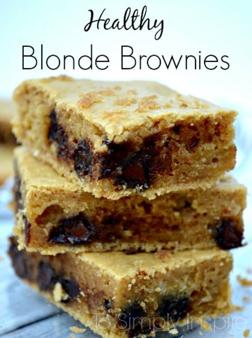 Healthy Blonde Brownies stacked on top of each other.