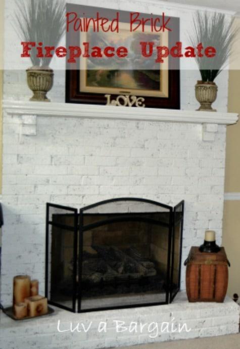 Painted Brick Fireplace Update
