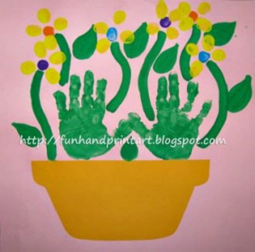 thumbprint flowers craft for mothers day