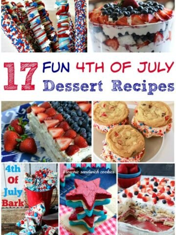 A bunch of different types of 4th of july desserts