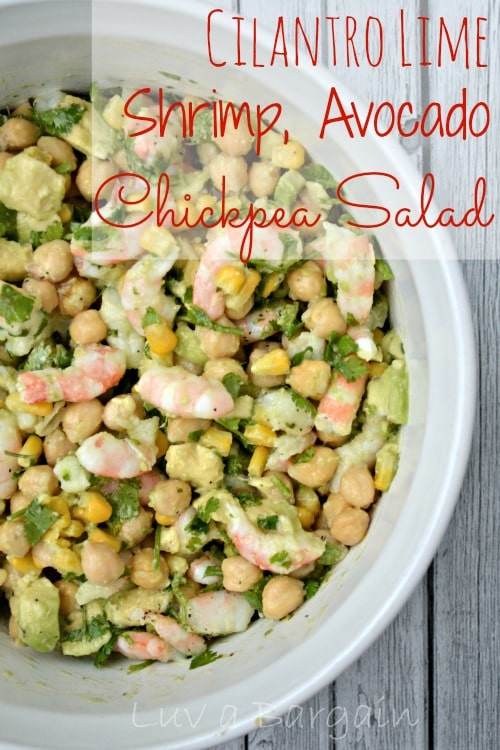 Cilantro Lime Shrimp, Avocado, Chickpea Salad