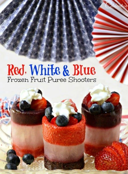 red white and blue frozen fruit puree shooters