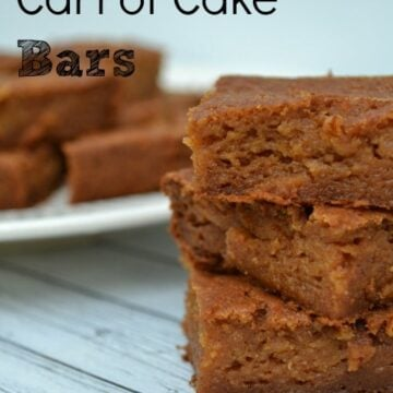 three carrot cake bars stacked