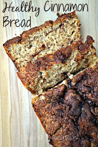 cinnamon bread with two slices cut with text overlay