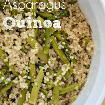quinoa and asparagus in a white bowl