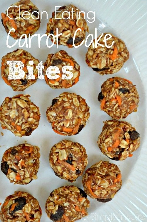 several Carrot Cake Bites recipe on a white plate