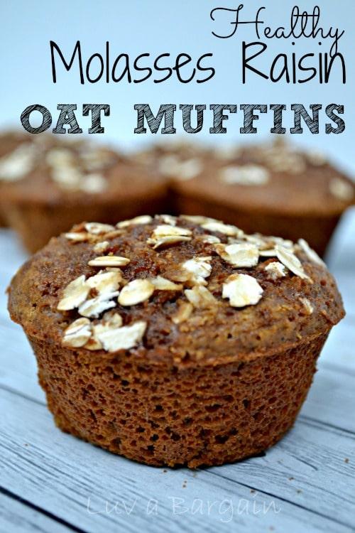 Healthy Molasses Raisin Oat Muffins