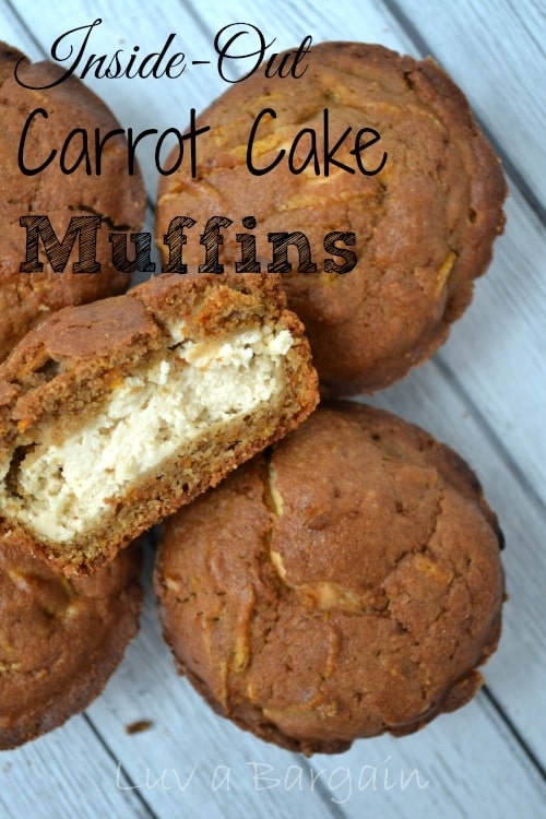 Closeout of Inside Out Carrot Cake Muffins with text overlay Inside-Out Carrot Cake Muffins - recipe at ToSimplyInspire.com