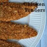 crispy chicken tenders on a white plate