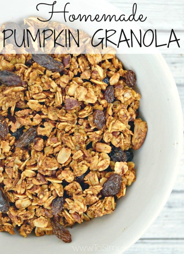 "This easy Pumpkin Granola Recipe is the perfect to add a little ""Fall"" to your yogurt parfait or to have as a healthy snack."